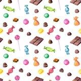 Teste padrão sem emenda com os doces de chocolate da aquarela ilustração royalty free