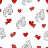 Teste padrão sem emenda com os elefantes bonitos e os corações do voo Fotos de Stock