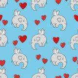 Teste padrão sem emenda com os elefantes bonitos e os corações do voo no azul Imagens de Stock