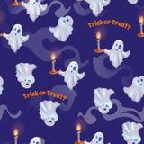 Teste padrão sem emenda com os fantasmas para o Dia das Bruxas Truque ou deleite Fotos de Stock