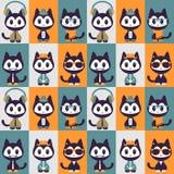 Teste padrão sem emenda com os gatinhos na roupa Imagem de Stock Royalty Free