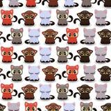 Teste padrão sem emenda com os gatinhos pequenos bonitos Foto de Stock