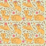 Teste padrão sem emenda com os gatos bonitos do gengibre no estilo criançola ilustração do vetor