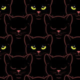 Teste padrão sem emenda com os gatos pretos bonitos Fotos de Stock Royalty Free