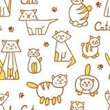 Teste padrão sem emenda com os gatos tirados mão no fundo branco Imagem de Stock