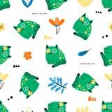 Teste padrão sem emenda com os gatos verdes engraçados ilustração royalty free