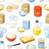 Teste padrão sem emenda com os ingredientes do cozimento dos desenhos animados Fotografia de Stock