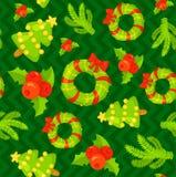 Teste padrão sem emenda com os mitenes bonitos do Natal dos desenhos animados Imagem de Stock Royalty Free