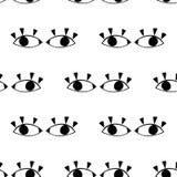 Teste padrão sem emenda com os olhos bonitos dos desenhos animados no estilo abstrato Drawnig gráfico preto dos globos oculares c ilustração royalty free