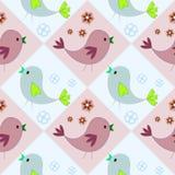 Teste padrão sem emenda com os pássaros azuis e marrons Fundo feliz Easter feliz fotos de stock royalty free