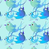 Teste padrão sem emenda com os pássaros azuis e verdes Fundo feliz Easter feliz foto de stock