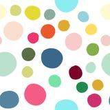 Teste padrão sem emenda com os pontos dispersados coloridos tirados mão dos confetes Imagens de Stock