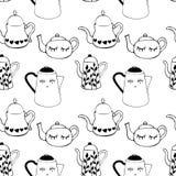 Teste padrão sem emenda com os potenciômetros do chá e do café Bebidas do inverno A arte pode ser usada para um menu, uma cafetar ilustração stock