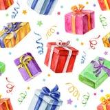 Teste padrão sem emenda com os presentes do Natal e do ano novo watercolor Imagens de Stock Royalty Free