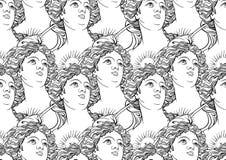 Teste padrão sem emenda com os retratos da deusa de Grécia antigo esboços pretos Alto-detalhados isolados no branco Foto de Stock Royalty Free