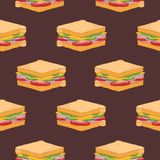 Teste padrão sem emenda com os sanduíches no fundo escuro Entregue o contexto tirado com refeição apetitosa do fast food ou delic ilustração stock