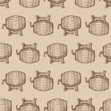 Teste padrão sem emenda com os tambores de cerveja Ilustração Royalty Free