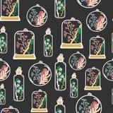 Teste padrão sem emenda com os terrariums florais tirados mão Fotografia de Stock