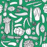 Teste padrão sem emenda com os vegetais verdes tirados mão no fundo verde Vegetais do teste padrão da garatuja Fotografia de Stock