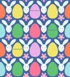 Teste padrão sem emenda com ovos da páscoa e coelhos coloridos Ilustração do vetor Fotografia de Stock Royalty Free