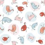 Teste padrão sem emenda com pássaros dos desenhos animados Imagem de Stock Royalty Free