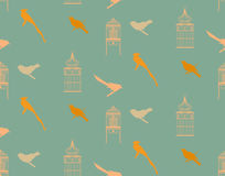 Teste padrão sem emenda com pássaros e birdcage do vintage Fotografia de Stock Royalty Free