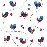 Teste padrão sem emenda com pássaros e corações alegres Fotografia de Stock Royalty Free