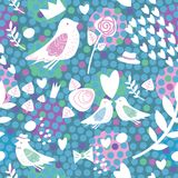Teste padrão sem emenda com pássaros e flor Foto de Stock Royalty Free