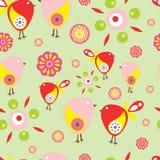 Teste padrão sem emenda com pássaros e flores com fundo preto Fotos de Stock Royalty Free