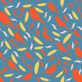 Teste padrão sem emenda com pássaros e penas silhuetas coloridas dos pássaros e do feath Foto de Stock