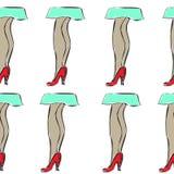 Teste padrão sem emenda com pés da menina nas sapatas e na saia imagens de stock royalty free