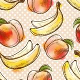 Teste padrão sem emenda com pêssego e banana Foto de Stock Royalty Free