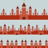 Teste padrão sem emenda com paisagem do conto de fadas da princesa do castelo no fundo cinzento Vetor Imagens de Stock Royalty Free