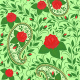 Teste padrão sem emenda com paisley e rosas Fotografia de Stock