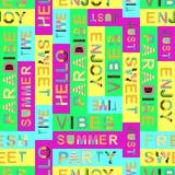 Teste padrão sem emenda com palavras do verão - ilustração do vetor, eps ilustração royalty free