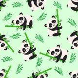 Teste padrão sem emenda com panda e bambu - ilustração do vetor, eps ilustração royalty free
