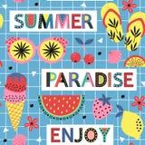 Teste padrão sem emenda com paraíso do verão no fundo azul ilustração royalty free