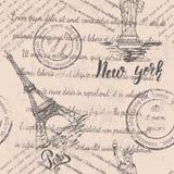 Teste padrão sem emenda com Paris e New York Foto de Stock Royalty Free