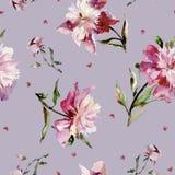 Teste padrão sem emenda com peônias cor-de-rosa e corações pequenos Pintura da aguarela Foto de Stock