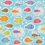 Teste padrão sem emenda com peixes Fotos de Stock Royalty Free
