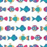 Teste padrão sem emenda com peixes coloridos Fotos de Stock