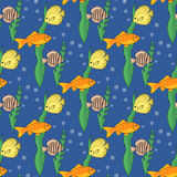 Teste padrão sem emenda com peixes Ilustração do vetor Fotografia de Stock Royalty Free