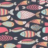 Teste padrão sem emenda com peixes Mundo submarino tirado mão Fundo artístico colorido Aquário Foto de Stock Royalty Free