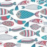 Teste padrão sem emenda com peixes Mundo submarino tirado mão Fundo artístico colorido Aquário Foto de Stock