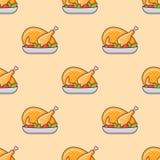 Teste padrão sem emenda com peru ou a galinha roasted Textura do vetor ilustração do vetor