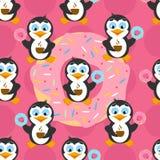 Teste padrão sem emenda com pinguim engraçado em um fundo cor-de-rosa Foto de Stock