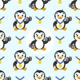 Teste padrão sem emenda com pinguim engraçado, medalha de ouro em um fundo azul Foto de Stock Royalty Free