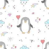 Teste padrão sem emenda com pinguins bonitos Face das mulheres Hand-drawn de illustration Vetor Foto de Stock Royalty Free