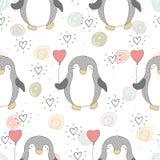 Teste padrão sem emenda com pinguins bonitos Face das mulheres Hand-drawn de illustration Vetor Fotografia de Stock Royalty Free