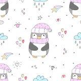 Teste padrão sem emenda com pinguins bonitos Face das mulheres Hand-drawn de illustration Vetor Imagem de Stock Royalty Free